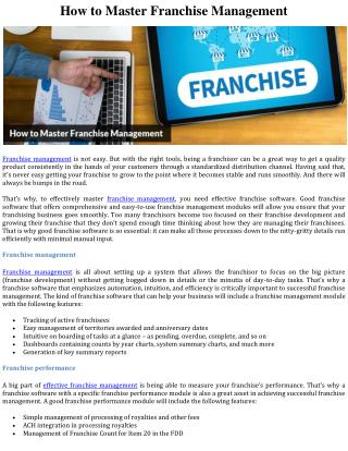 How to Master Franchise Management