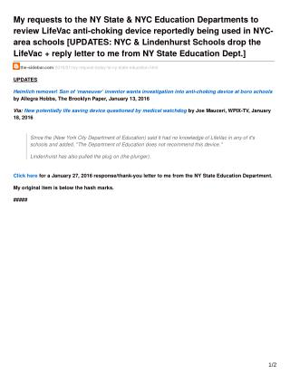 LifeVac Review-My requests to the NY State amp NYC Education Departments to review LifeVac anti-choking Device