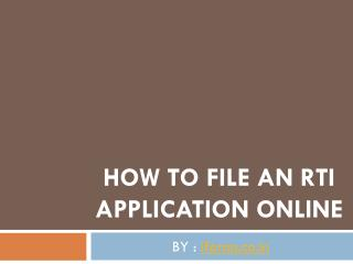 Download RTI application form Online