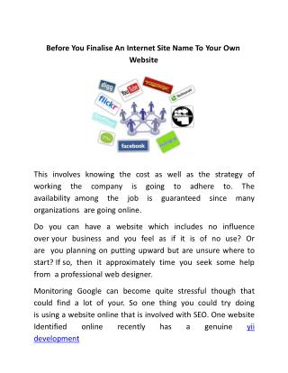 Before You Finalise An Internet Site Name To Your Own Website