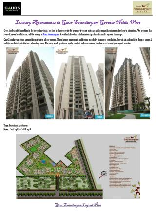 Luxury Apartments in Gaur Saundaryam Greater Noida West