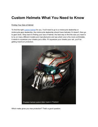 Custom Helmets What You Need to Know