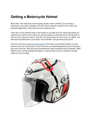 Getting a Motorcycle Helmet