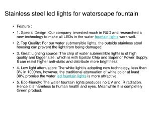 Stainless steel led lights for waterscape fountain