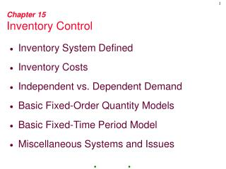 Chapter 15 Inventory Control
