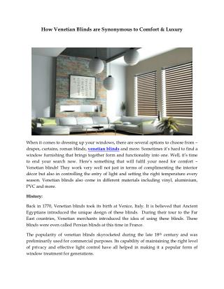 How Venetian Blinds are Synonymous to Comfort & Luxury