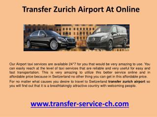 Transfer zurich airport at online