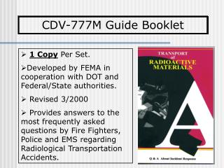 1 Copy  Per Set. Developed by FEMA in cooperation with DOT and Federal/State authorities.  Revised 3/2000