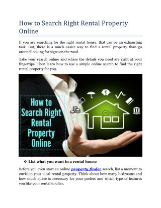 How To Search Right Rental Property Online