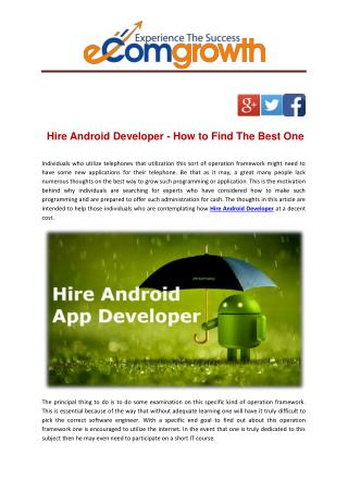 Hire Android Developer - How to Find The Best One