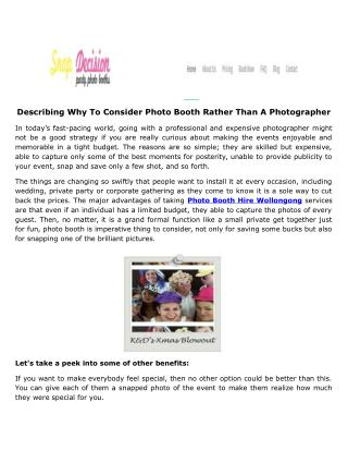 Describing Why To Consider Photo Booth Rather Than A Photographer