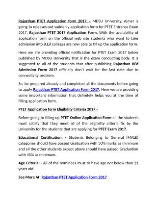 Rajasthan PTET Application Form 2017, MDSU BEd Admission Online