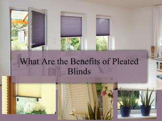 What Are the Benefits of Pleated Blinds