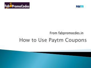 How to use Paytm Coupons