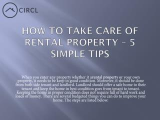 How to Take care of rental property – 5 Simple Tips