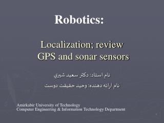 Localization; review  GPS and sonar sensors