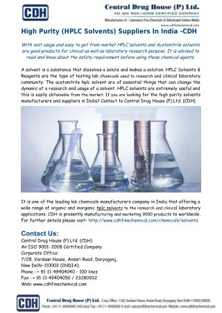 High Purity Solvents, HPLC Solvents