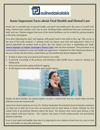 Some Important Facts about Oral Health and Dental Care