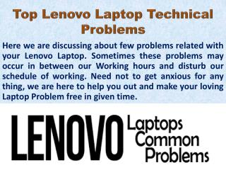 Top Problems that may affect Lenovo Laptop working Experiance