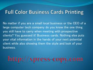 Full Color Business Card Printing Northern Virginia