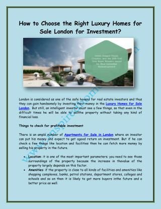 How to Choose the Right Luxury Homes for Sale London for Investment?