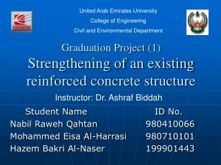Graduation Project (1) Strengthening of an existing reinforced concrete structure