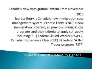 Express Entry Migration to Canada