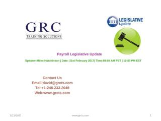 Payroll Legislative Update