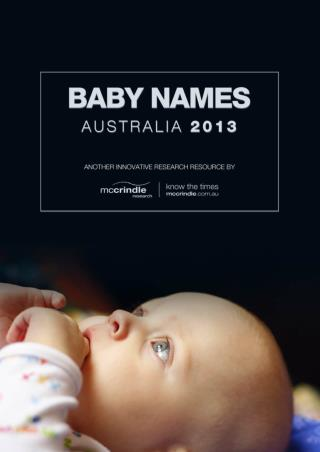 Baby Names Australia 2013 McCrindle Research