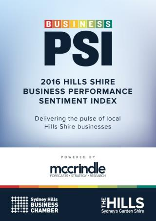 Hills Business PSI (Performance Sentiment Index) McCrindle 2016