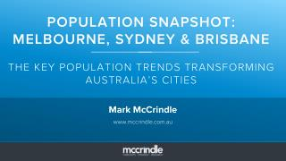 Population snapshot Sydney, Melbourne and Brisbane Mark McCrindle