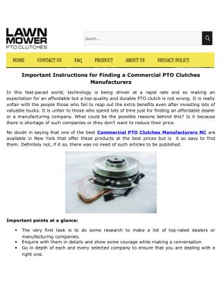 Important Instructions for Finding a Commercial PTO Clutches Manufacturers