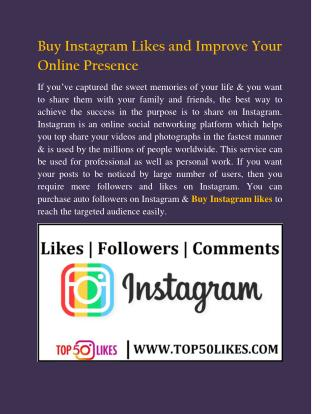 Buy Instagram Likes and Improve Your Online Presence