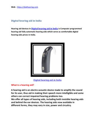 Digital hearing aid in India