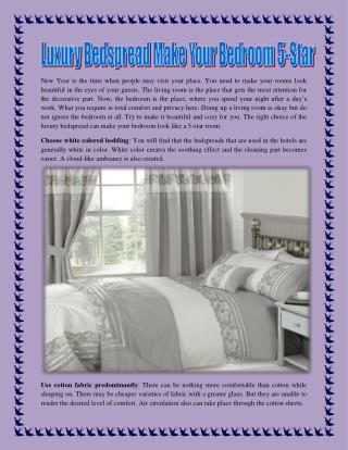 Luxury Bedspread Make Your Bedroom 5-Star