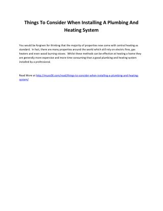 Things To Consider When Installing A Plumbing And Heating System