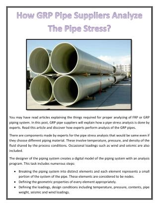 How GRP Pipe Suppliers Analyze The Pipe Stress?