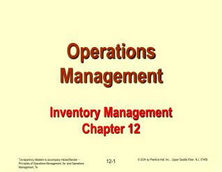 Operations Management Inventory Management Chapter 12