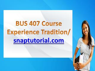 BUS 407 Course Experience Tradition / snaptutorial.com