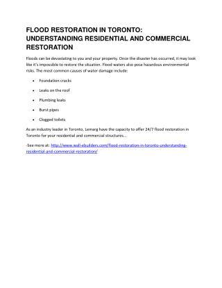 Flood restoration in Toronto: Understanding Residential and Commercial Restoration
