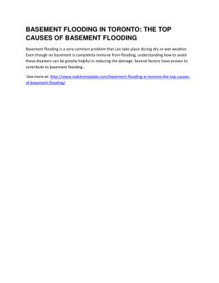 Basement Flooding in Toronto: The Top Causes of Basement Flooding