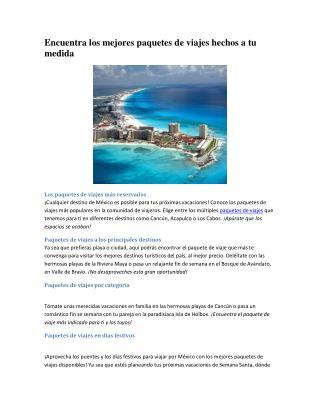 Paquetes de viajes mas reservados a Mexico