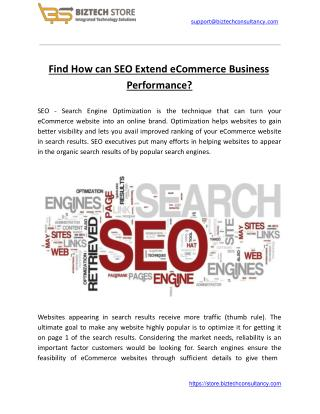 Find How can SEO Extend eCommerce Business Performance?
