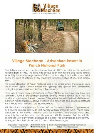 Adventure Resort in Pench National Park | Wildlife Resort In Pench | Hotels In Pench | Resort In Turia Gate Pench | Reso