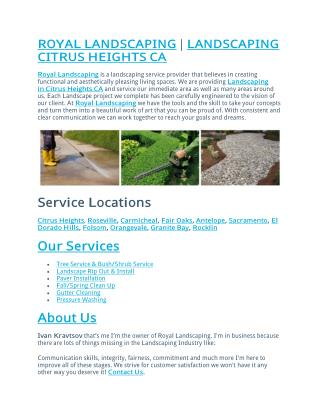 ROYAL LANDSCAPING | LANDSCAPING CITRUS HEIGHTS CA