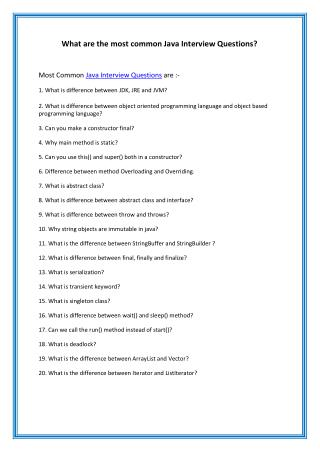 What are the most common Java Interview Questions