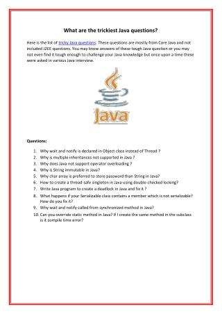 What are the trickiest Java questions