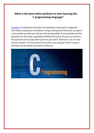 What is the best online platform to start learning the C programming language