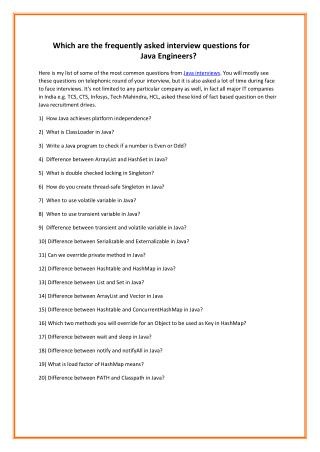 Which are the frequently asked interview questions for Java Engineers