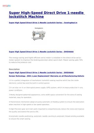 Super High-Speed Direct Drive 1-needle lockstitch Machine
